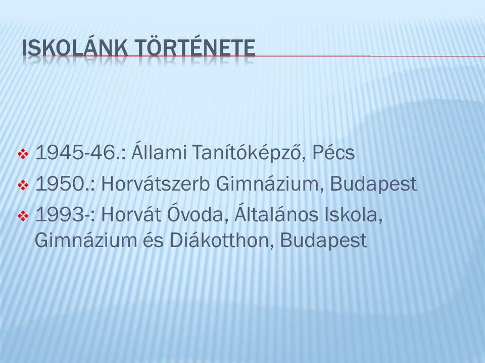 ISKOLÁNK TÖRTÉNETE 1945-46.: Állami Tanítóképző, Pécs