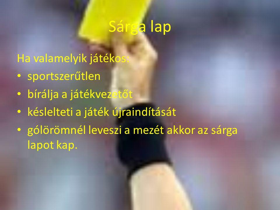 Sárga lap Ha valamelyik játékos: sportszerűtlen bírálja a játékvezetőt