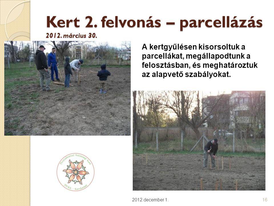 Kert 2. felvonás – parcellázás 2012. március 30.