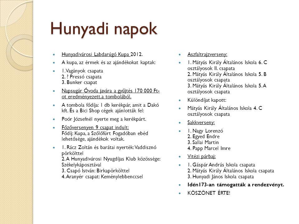Hunyadi napok Hunyadivárosi Labdarúgó Kupa 2012.
