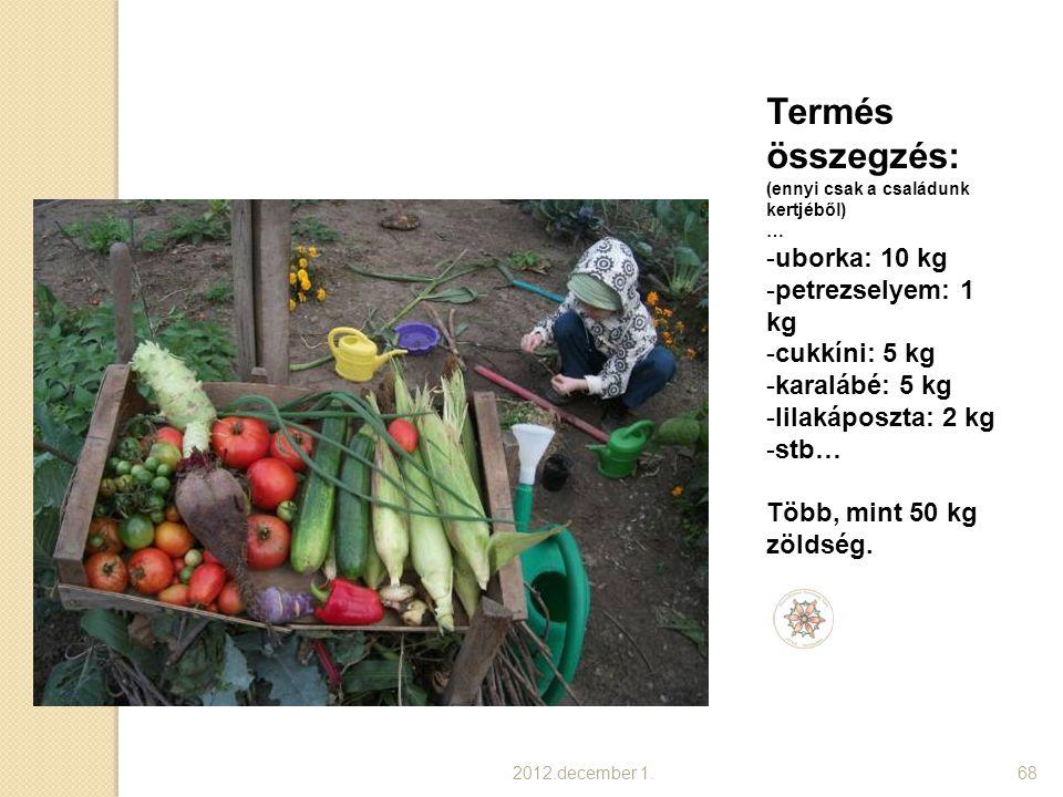 Termés összegzés: uborka: 10 kg petrezselyem: 1 kg cukkíni: 5 kg