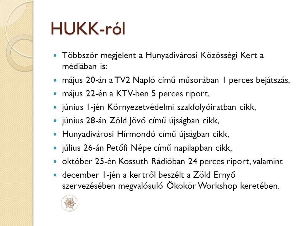 HUKK-ról Többször megjelent a Hunyadivárosi Közösségi Kert a médiában is: május 20-án a TV2 Napló című műsorában 1 perces bejátszás,