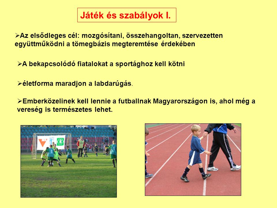 Játék és szabályok I. Az elsődleges cél: mozgósítani, összehangoltan, szervezetten együttműködni a tömegbázis megteremtése érdekében.