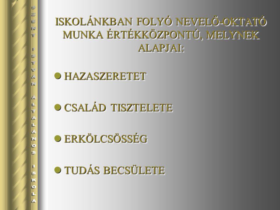 ISKOLÁNKBAN FOLYÓ NEVELŐ-OKTATÓ MUNKA ÉRTÉKKÖZPONTÚ, MELYNEK ALAPJAI: