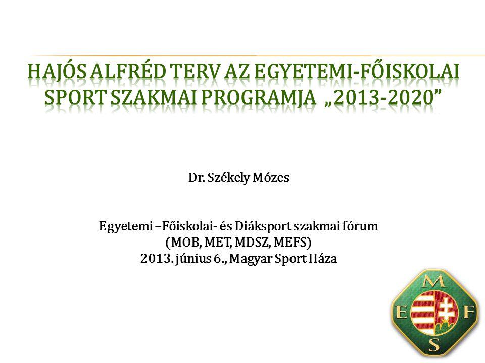 """Hajós Alfréd Terv az egyetemi-főiskolai sport szakmai programja """"2013-2020"""