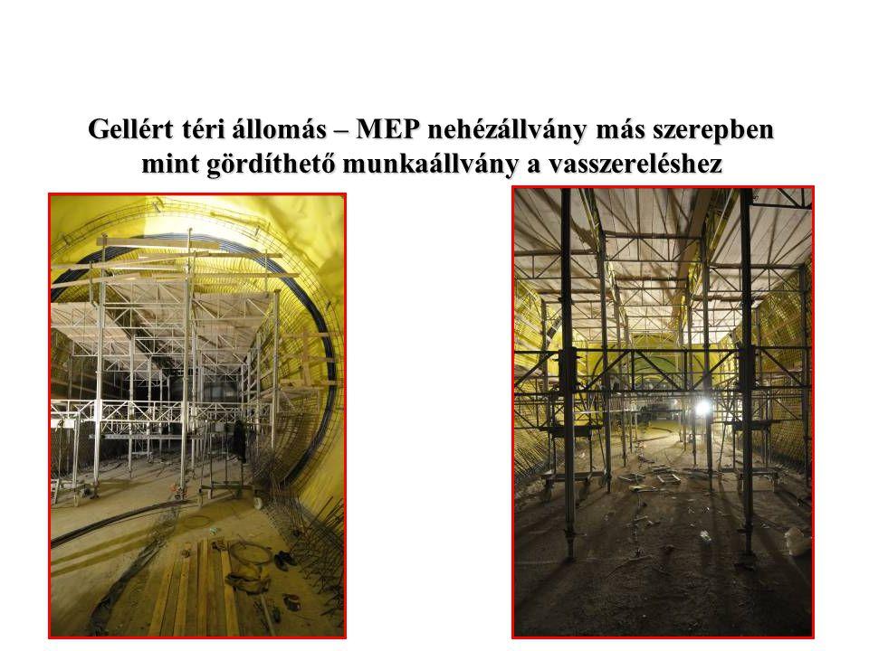 Zsalurendszerek Rt Gellért téri állomás – MEP nehézállvány más szerepben mint gördíthető munkaállvány a vasszereléshez.