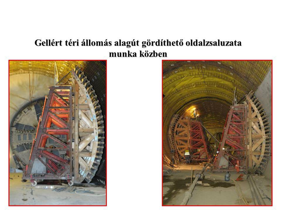 Gellért téri állomás alagút gördíthető oldalzsaluzata munka közben