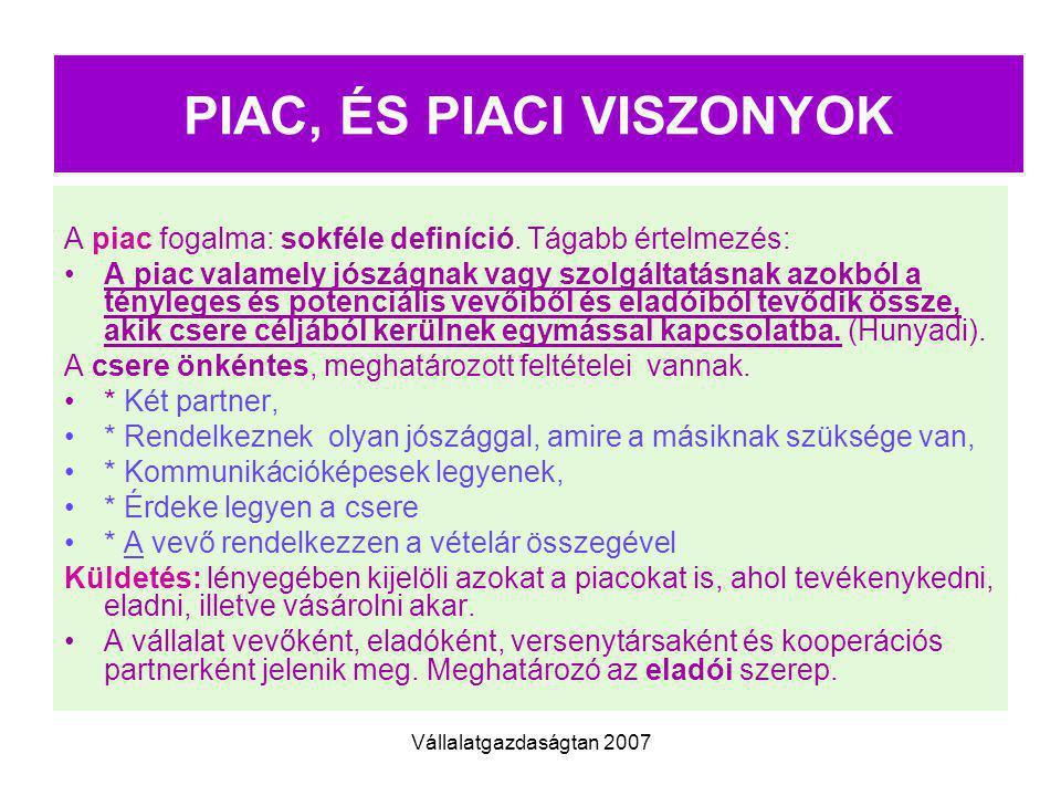 PIAC, ÉS PIACI VISZONYOK