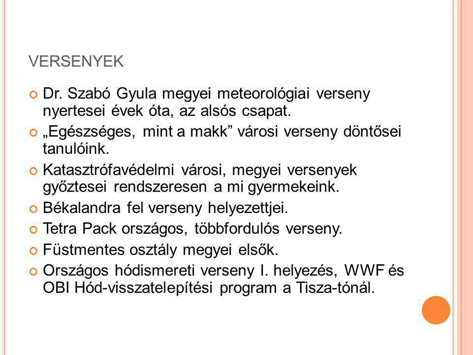 versenyek Dr. Szabó Gyula megyei meteorológiai verseny nyertesei évek óta, az alsós csapat.