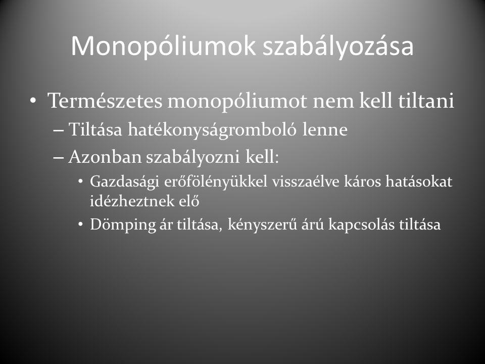 Monopóliumok szabályozása