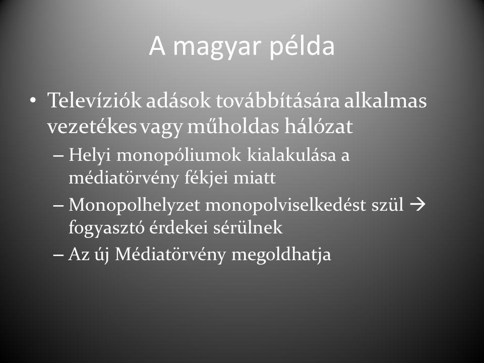 A magyar példa Televíziók adások továbbítására alkalmas vezetékes vagy műholdas hálózat. Helyi monopóliumok kialakulása a médiatörvény fékjei miatt.