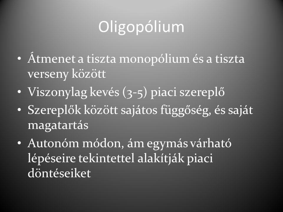 Oligopólium Átmenet a tiszta monopólium és a tiszta verseny között