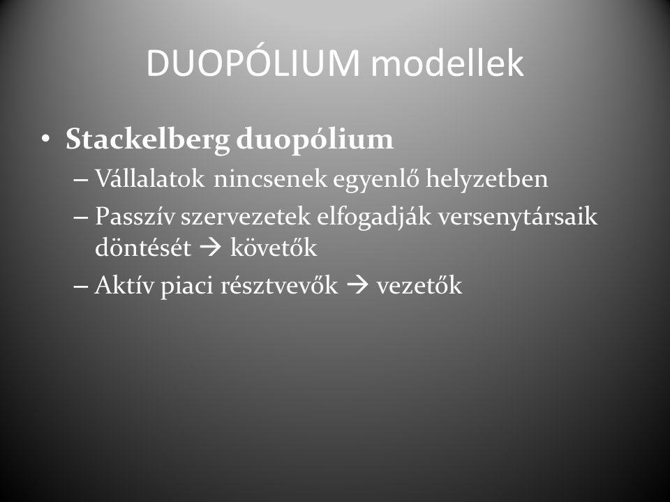 DUOPÓLIUM modellek Stackelberg duopólium