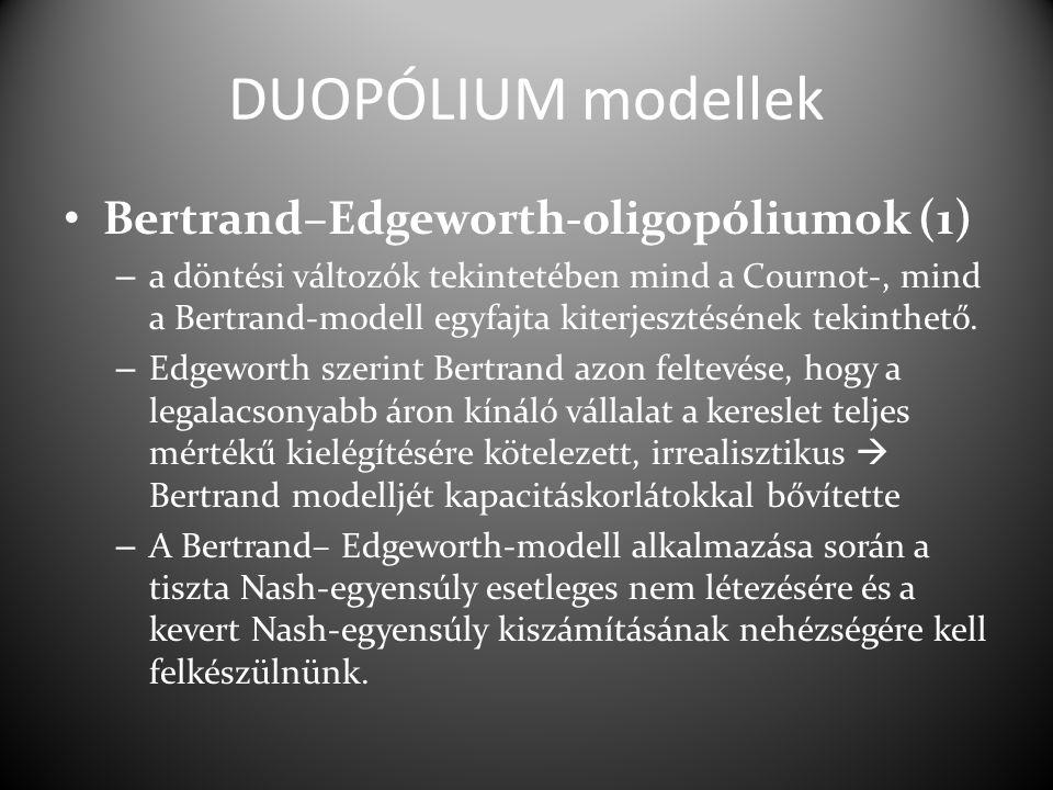 DUOPÓLIUM modellek Bertrand–Edgeworth-oligopóliumok (1)
