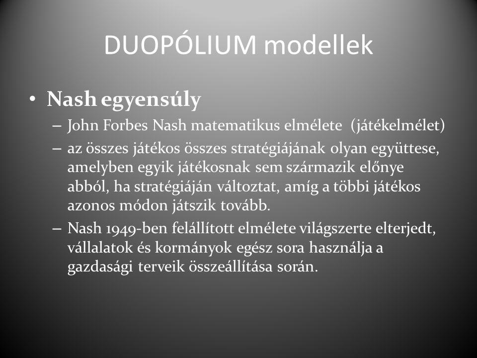 DUOPÓLIUM modellek Nash egyensúly
