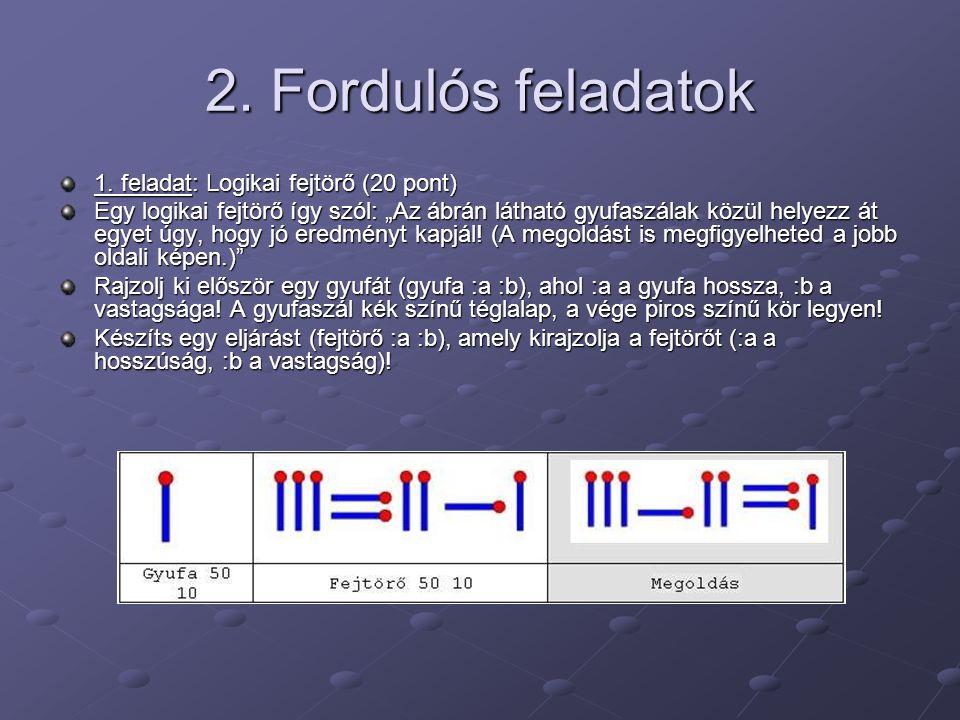 2. Fordulós feladatok 1. feladat: Logikai fejtörő (20 pont)