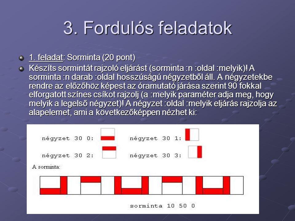3. Fordulós feladatok 1. feladat: Sorminta (20 pont)