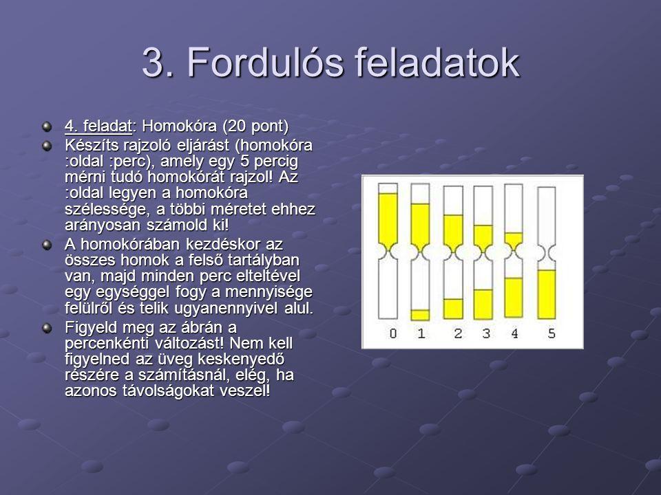 3. Fordulós feladatok 4. feladat: Homokóra (20 pont)