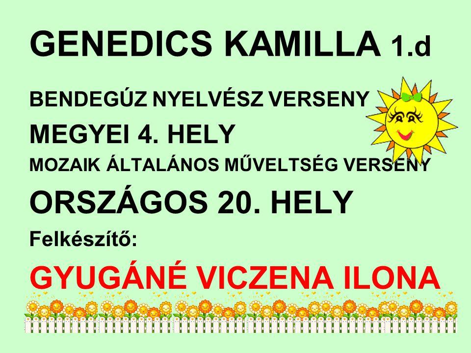 GENEDICS KAMILLA 1.d ORSZÁGOS 20. HELY GYUGÁNÉ VICZENA ILONA