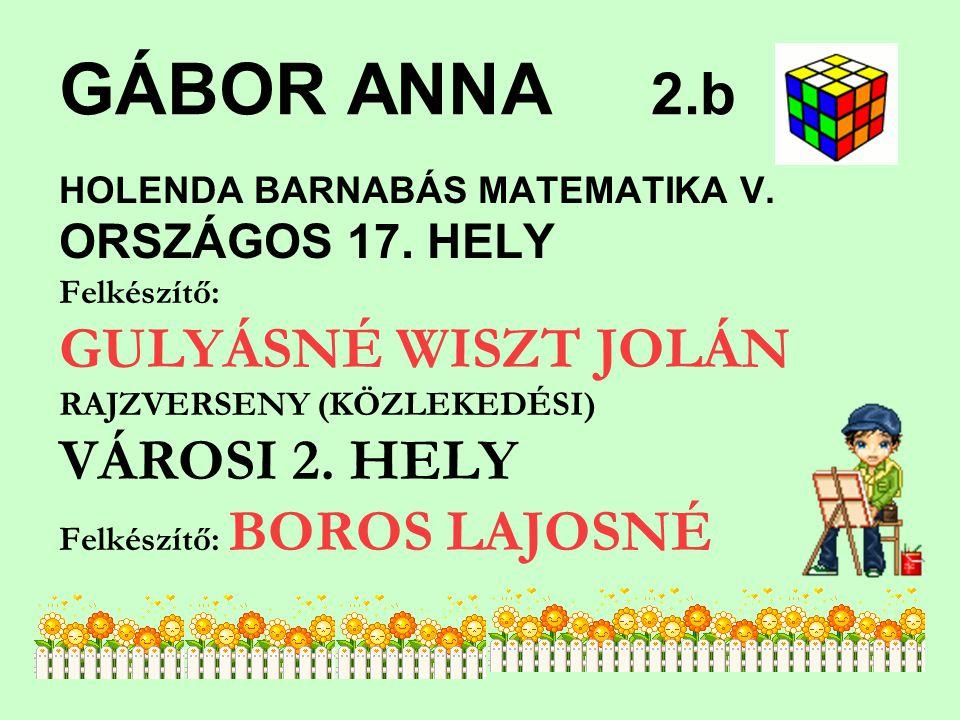 GÁBOR ANNA 2.b GULYÁSNÉ WISZT JOLÁN VÁROSI 2. HELY ORSZÁGOS 17. HELY