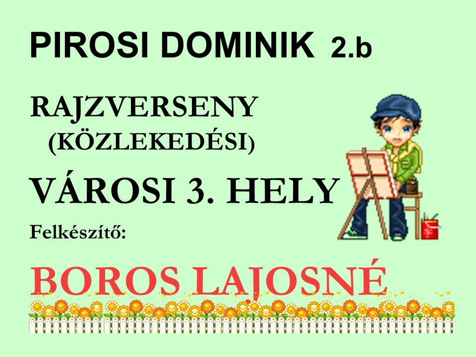 BOROS LAJOSNÉ VÁROSI 3. HELY PIROSI DOMINIK 2.b
