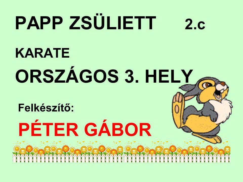 PAPP ZSÜLIETT 2.c KARATE ORSZÁGOS 3. HELY Felkészítő: PÉTER GÁBOR B