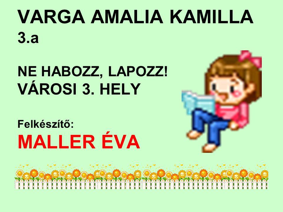 VARGA AMALIA KAMILLA 3.a MALLER ÉVA VÁROSI 3. HELY NE HABOZZ, LAPOZZ!