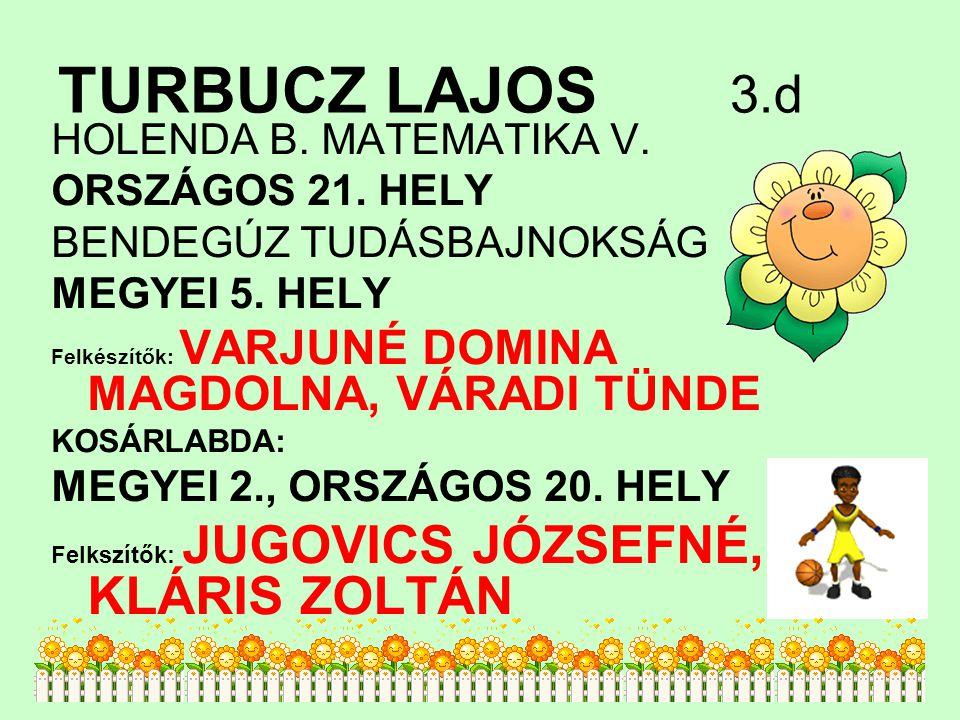 TURBUCZ LAJOS 3.d HOLENDA B. MATEMATIKA V. ORSZÁGOS 21. HELY