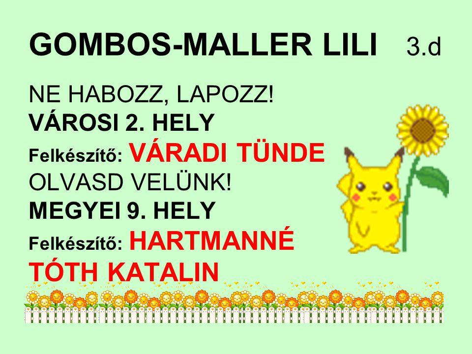 GOMBOS-MALLER LILI 3.d TÓTH KATALIN NE HABOZZ, LAPOZZ! VÁROSI 2. HELY