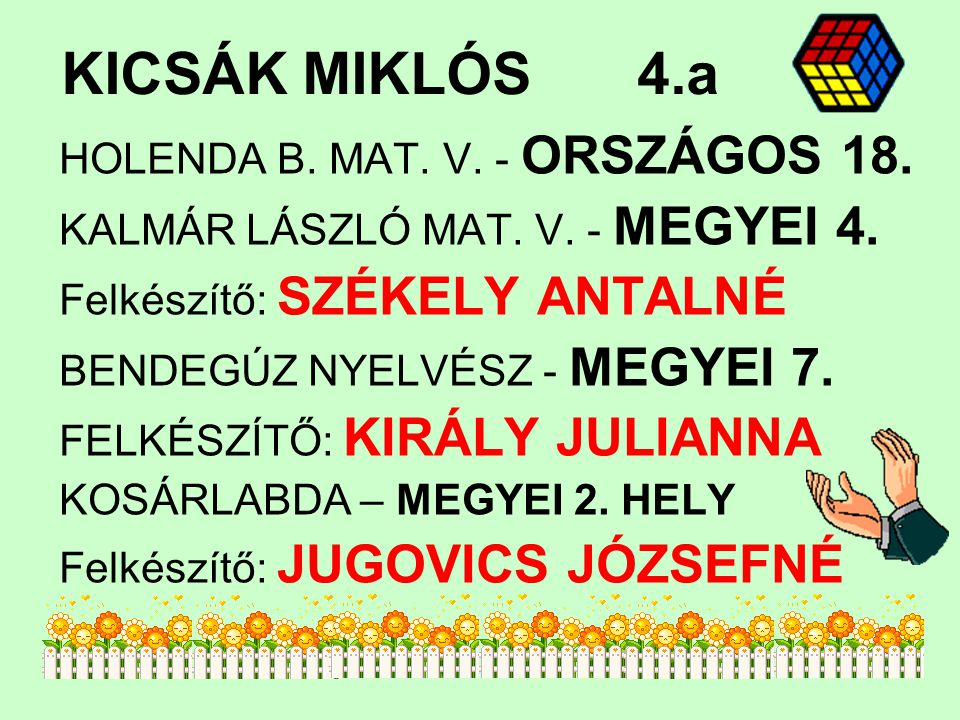 KICSÁK MIKLÓS 4.a HOLENDA B. MAT. V. - ORSZÁGOS 18.