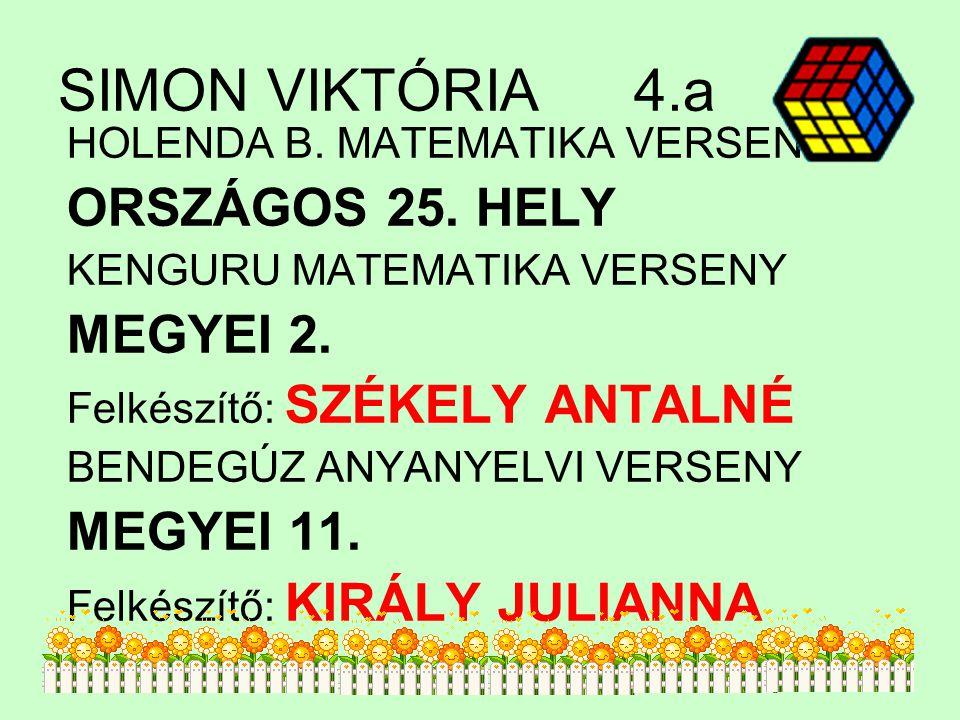 SIMON VIKTÓRIA 4.a ORSZÁGOS 25. HELY MEGYEI 2. MEGYEI 11.