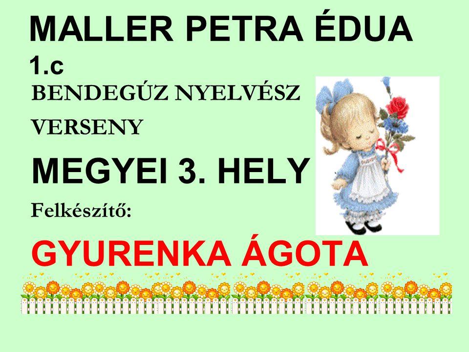 MALLER PETRA ÉDUA 1.c VERSENY Felkészítő: GYURENKA ÁGOTA