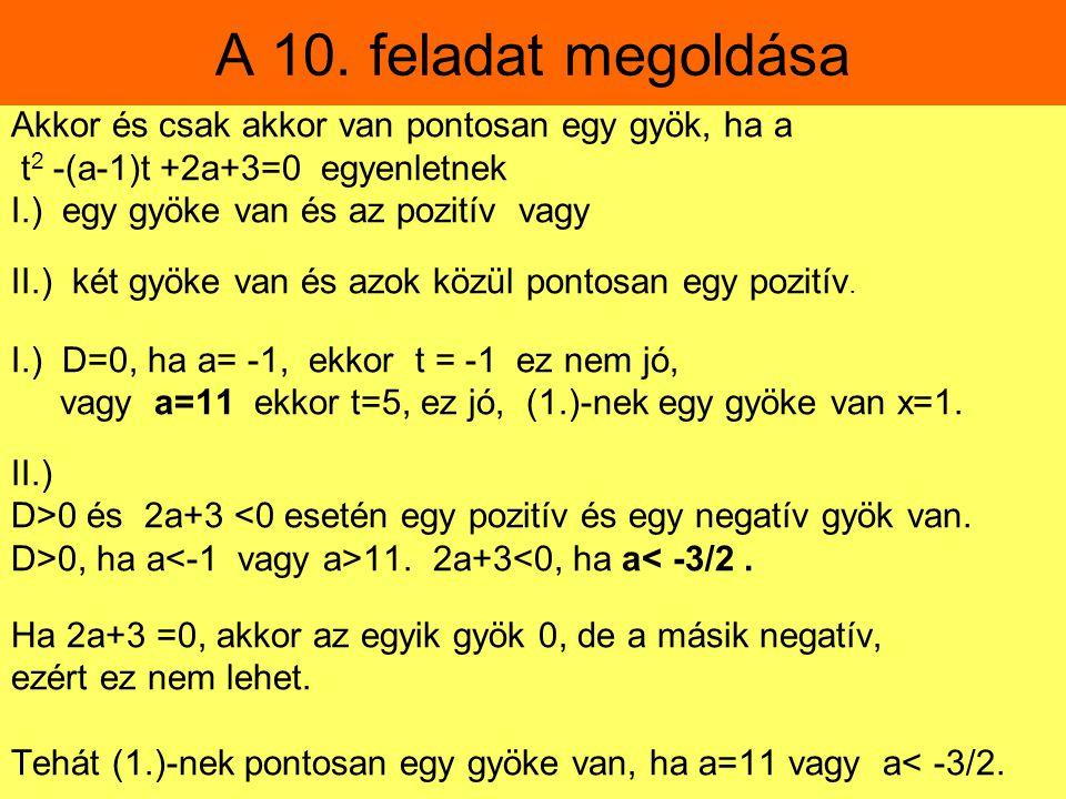 A 10. feladat megoldása Akkor és csak akkor van pontosan egy gyök, ha a. t2 -(a-1)t +2a+3=0 egyenletnek.