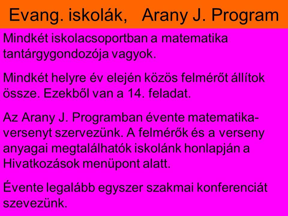 Evang. iskolák, Arany J. Program