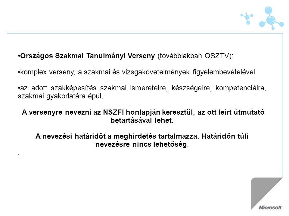 Országos Szakmai Tanulmányi Verseny (továbbiakban OSZTV):