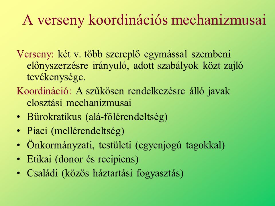 A verseny koordinációs mechanizmusai