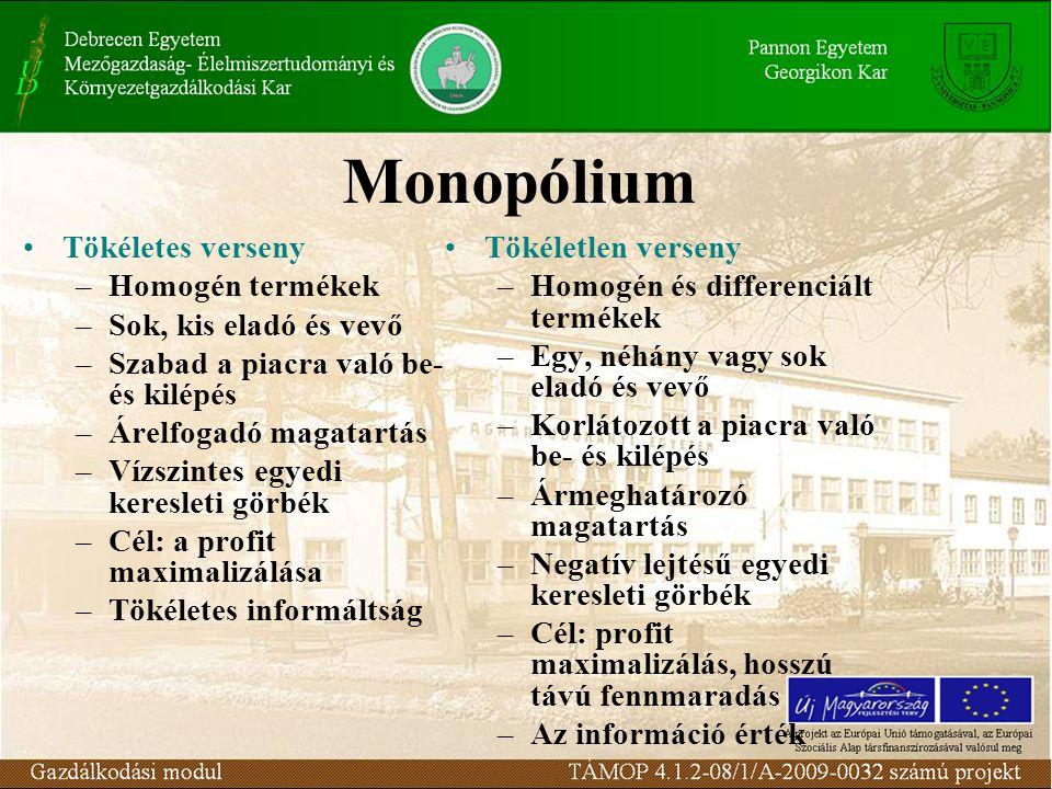 Monopólium Tökéletes verseny Homogén termékek Sok, kis eladó és vevő