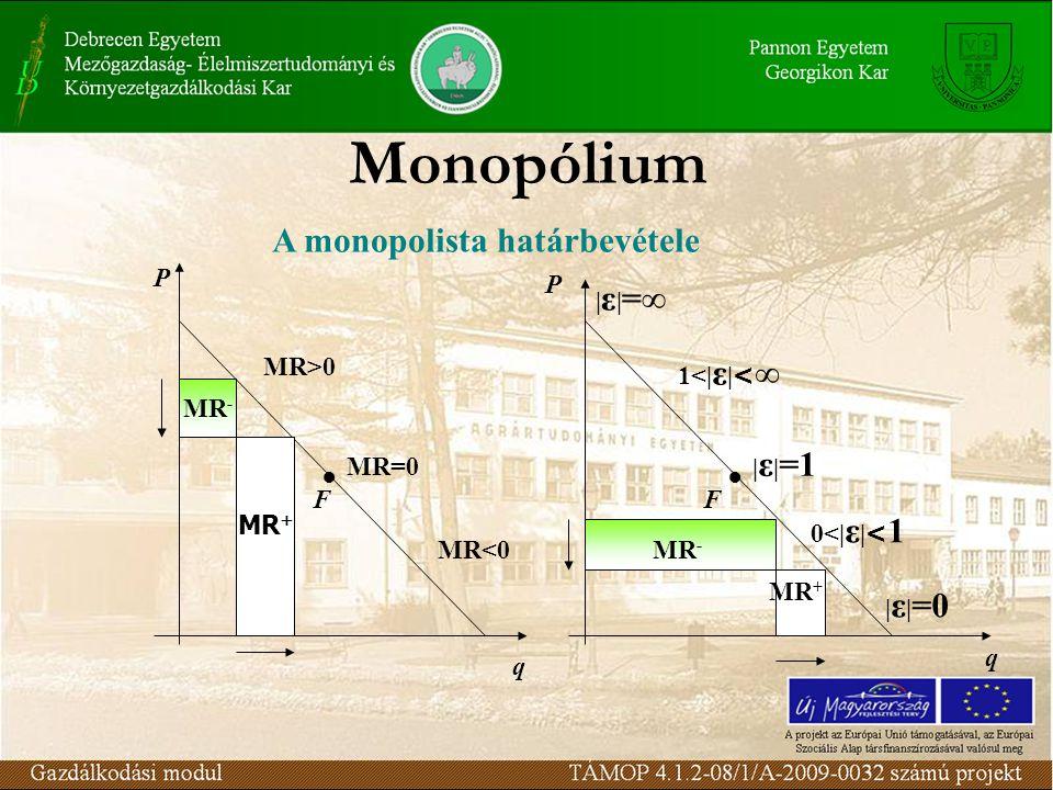 Monopólium A monopolista határbevétele P P |ε|=∞ MR>0 1<|ε|<∞