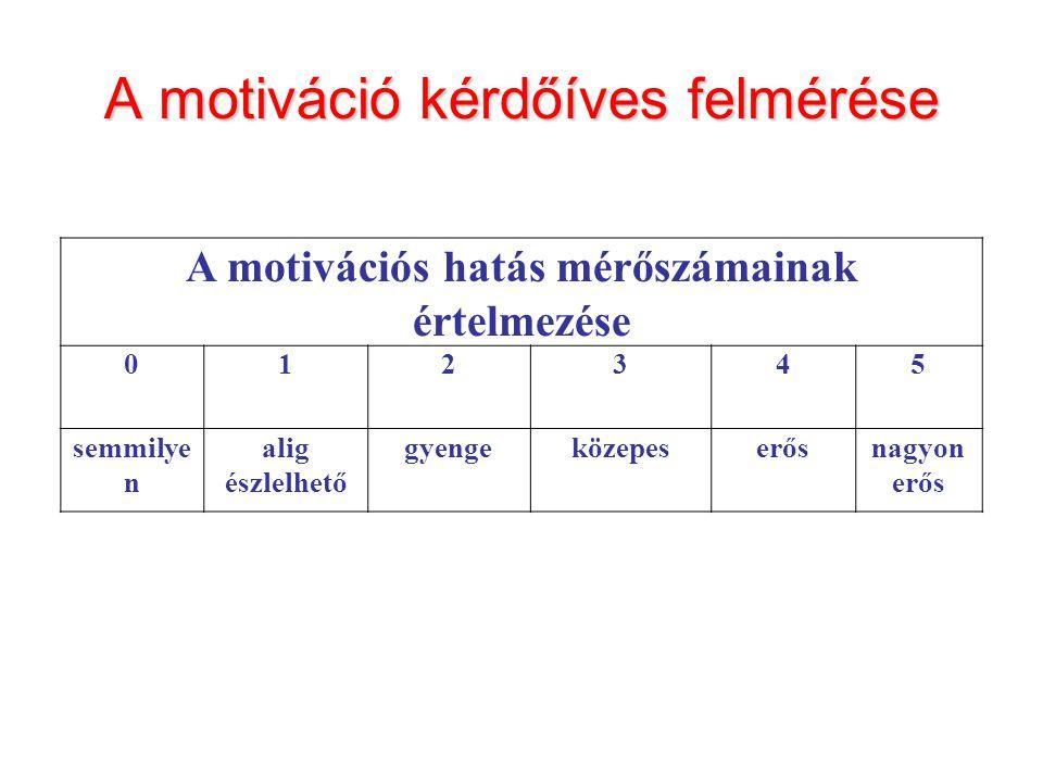 A motiváció kérdőíves felmérése