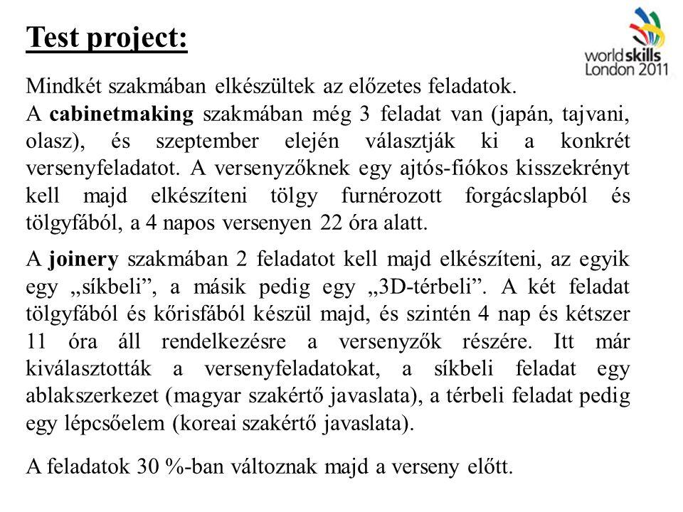Test project: Mindkét szakmában elkészültek az előzetes feladatok.