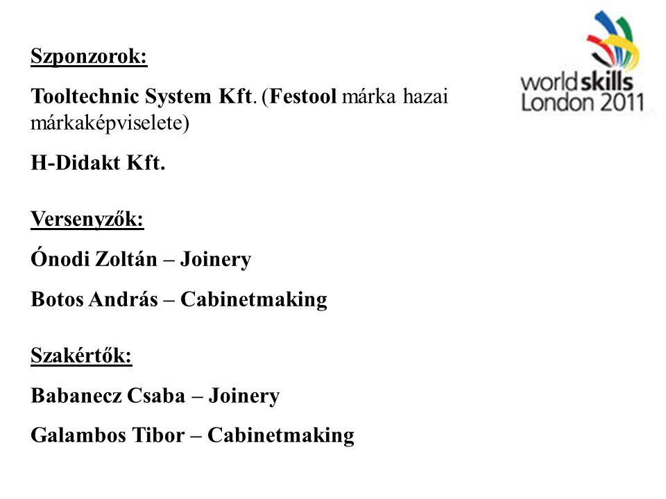 Szponzorok: Tooltechnic System Kft. (Festool márka hazai márkaképviselete) H-Didakt Kft. Versenyzők: