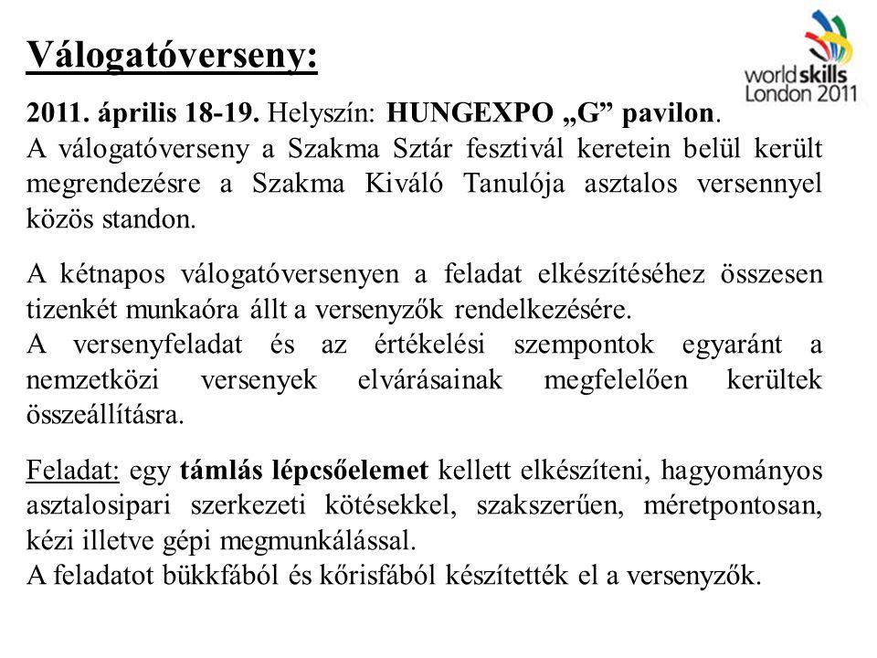 """Válogatóverseny: 2011. április 18-19. Helyszín: HUNGEXPO """"G pavilon."""