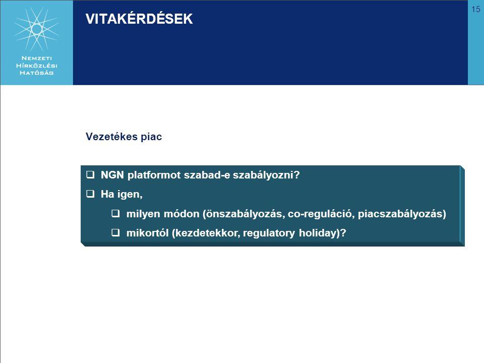 VITAKÉRDÉSEK Vezetékes piac NGN platformot szabad-e szabályozni
