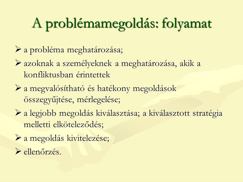 A problémamegoldás: folyamat