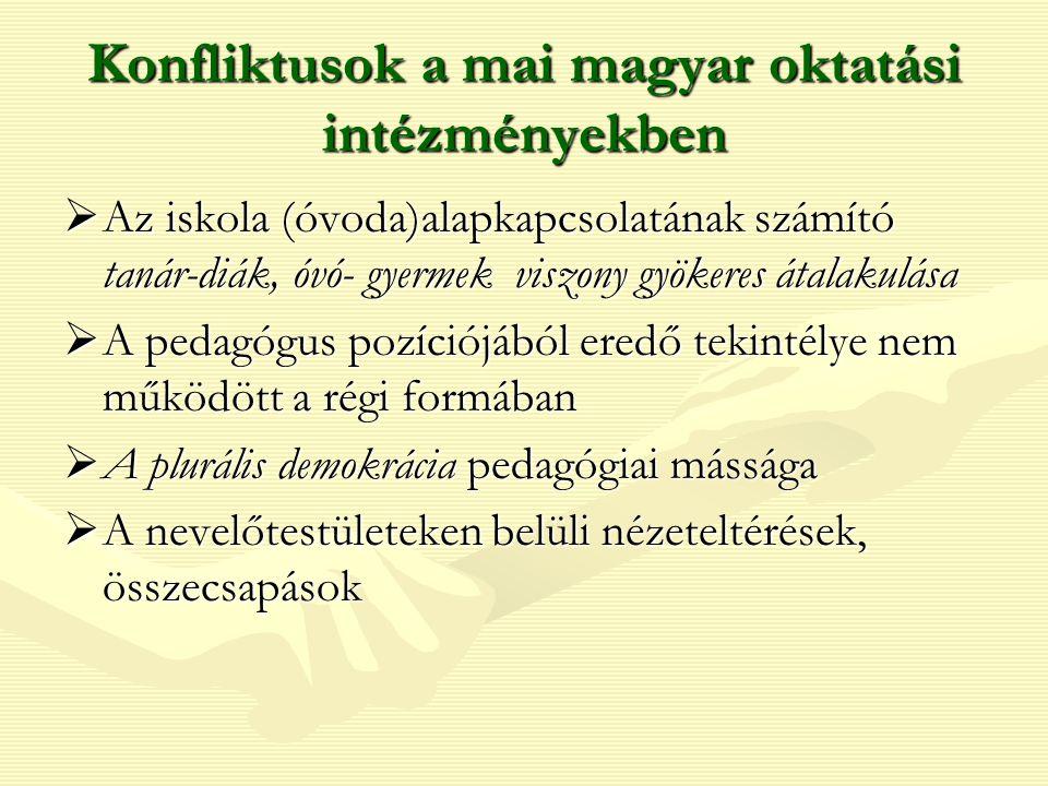 Konfliktusok a mai magyar oktatási intézményekben