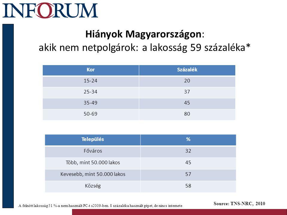 Hiányok Magyarországon: akik nem netpolgárok: a lakosság 59 százaléka*
