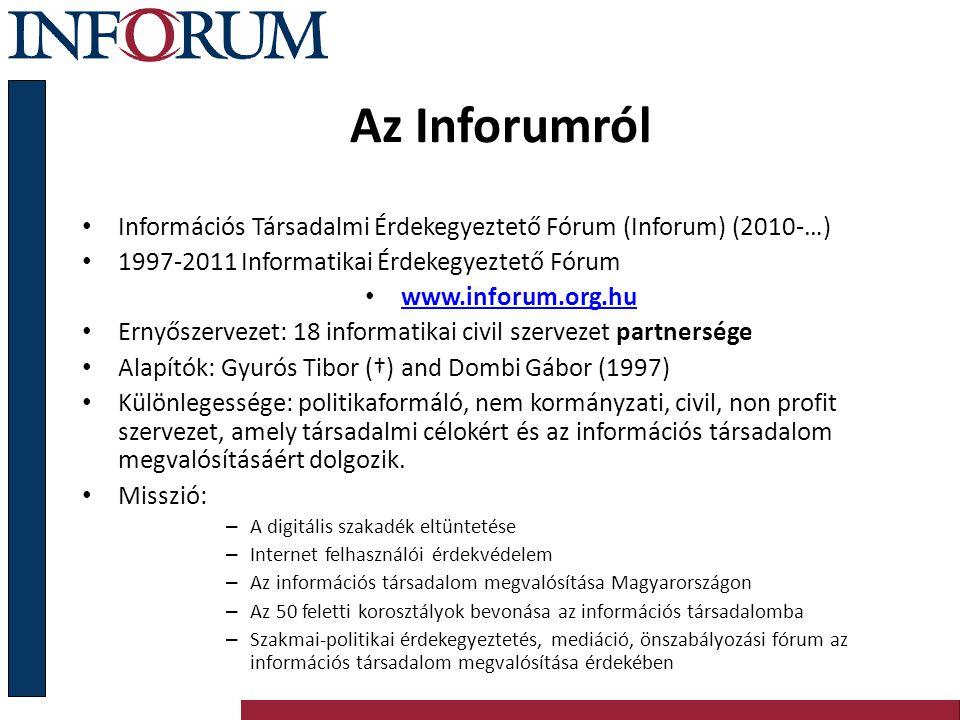 Az Inforumról Információs Társadalmi Érdekegyeztető Fórum (Inforum) (2010-…) 1997-2011 Informatikai Érdekegyeztető Fórum.