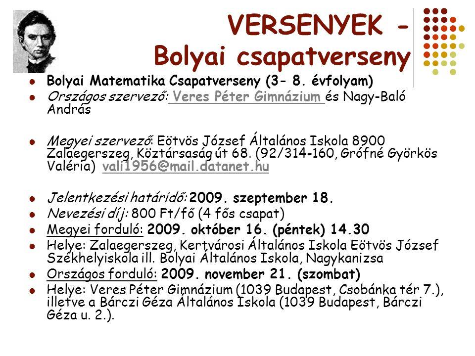 VERSENYEK - Bolyai csapatverseny