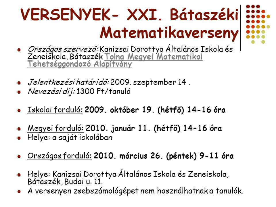 VERSENYEK- XXI. Bátaszéki Matematikaverseny