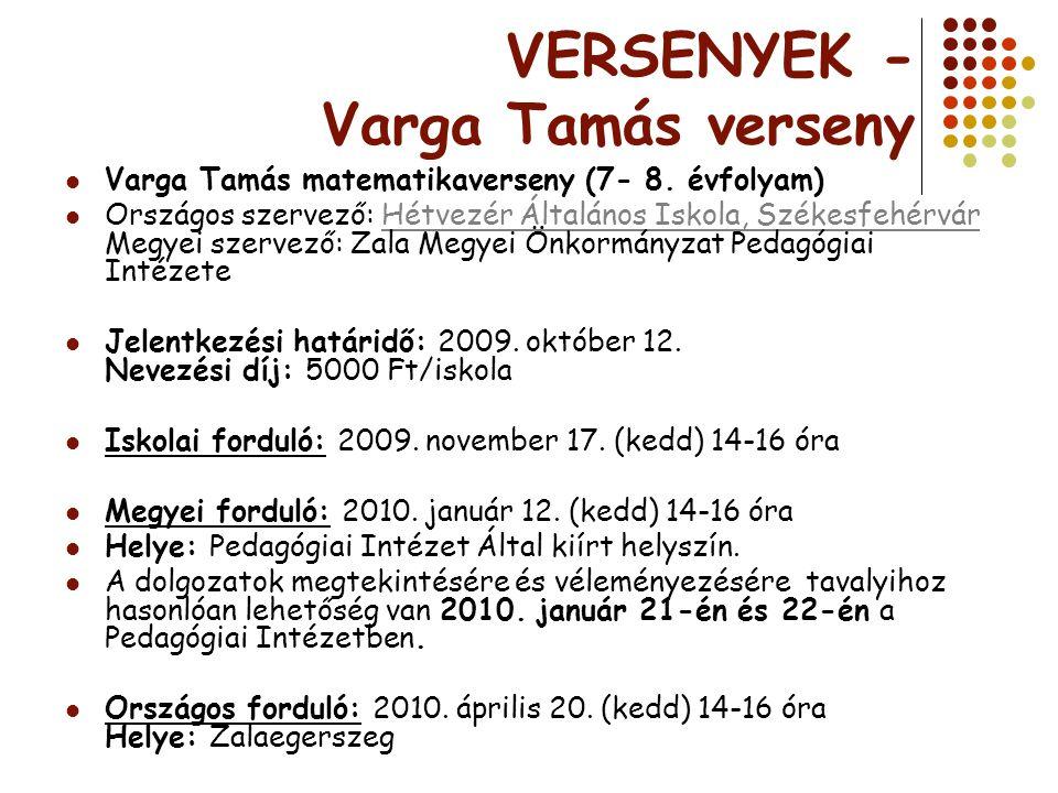 VERSENYEK - Varga Tamás verseny